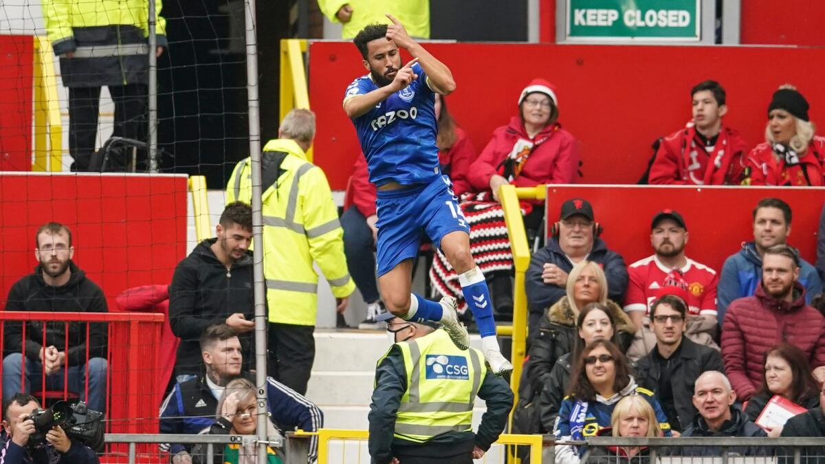 Everton's Andros Townsend celebrates after scoring against Manchester United. (AP)
