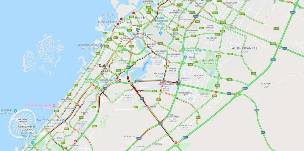 rain, heavy traffic, Sheikh Zayed Road, Al Khail Road, Sheikh Mohammed bin Zayed Road, Dubai-Al Ain Road, Al Ittihad Road, Ras Al Khor Road