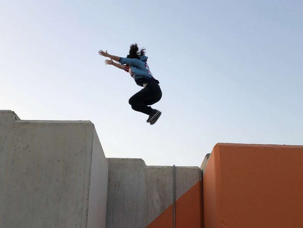#SheIsEmirati, parkour athelete, ?jumps, obstacles, ?for a living