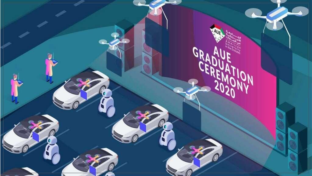 Combating, covid-19, coronavirus, UAE-based university, graduation ceremony, drones