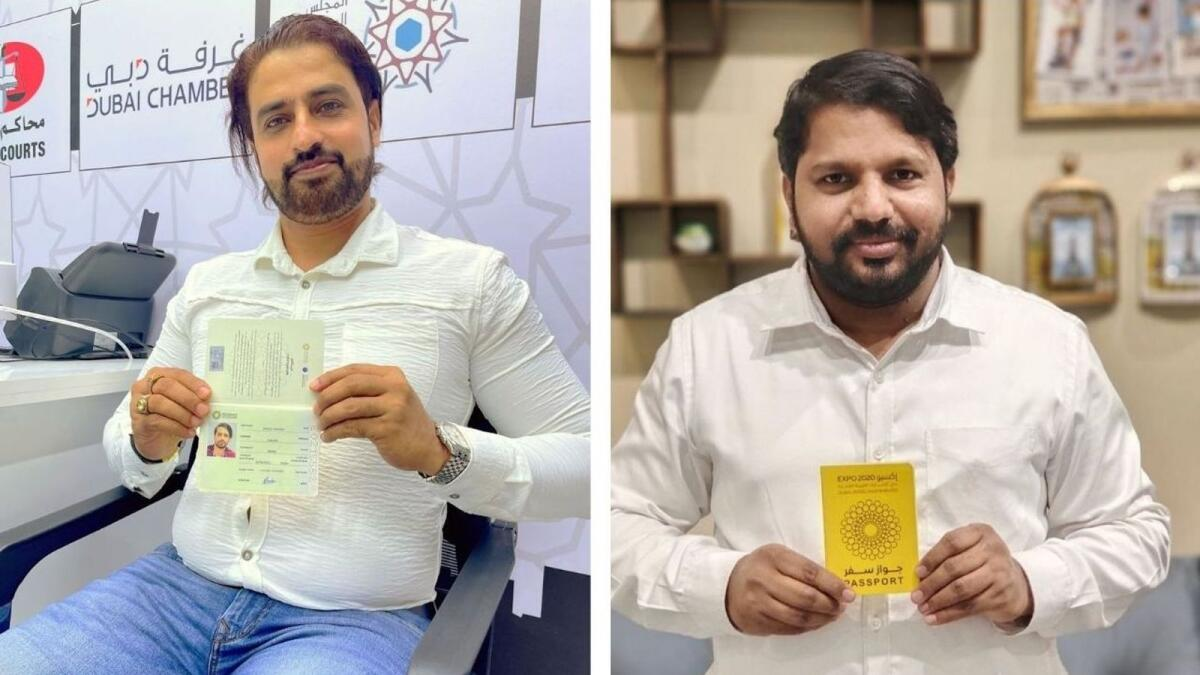 (L-R) Sayyed Shahulhamid and Swavvab Ali show off their Expo passports.