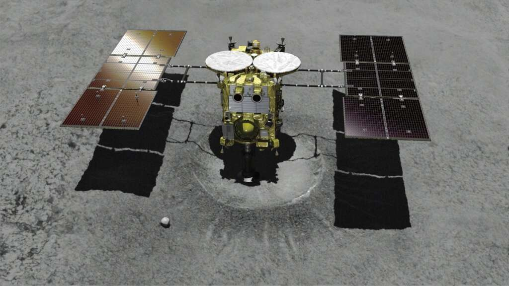 Japanese spacecraft lands on asteroid, takes samples