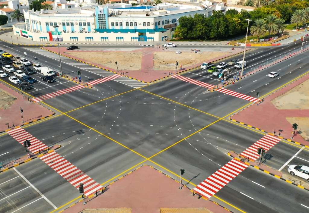 UAE roundabout, removed, converted, intersection, ease traffic