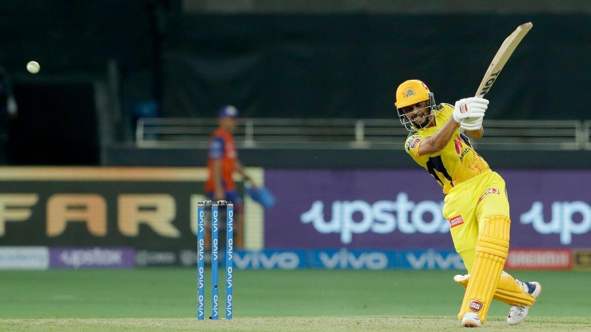 Ruturaj Gaikwad plays a shot during the  Indian Premier League match against Mumbai Indians in Dubai. — BCCI
