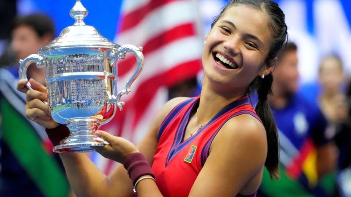 Emma Raducanu of Great Britain celebrates after winning the US Open. (Reuters)