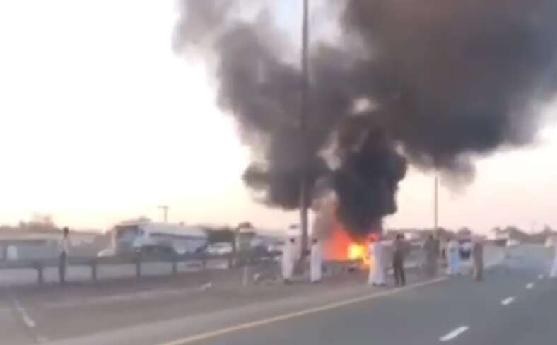 Car crashes into electricity pole in UAE, catches fire