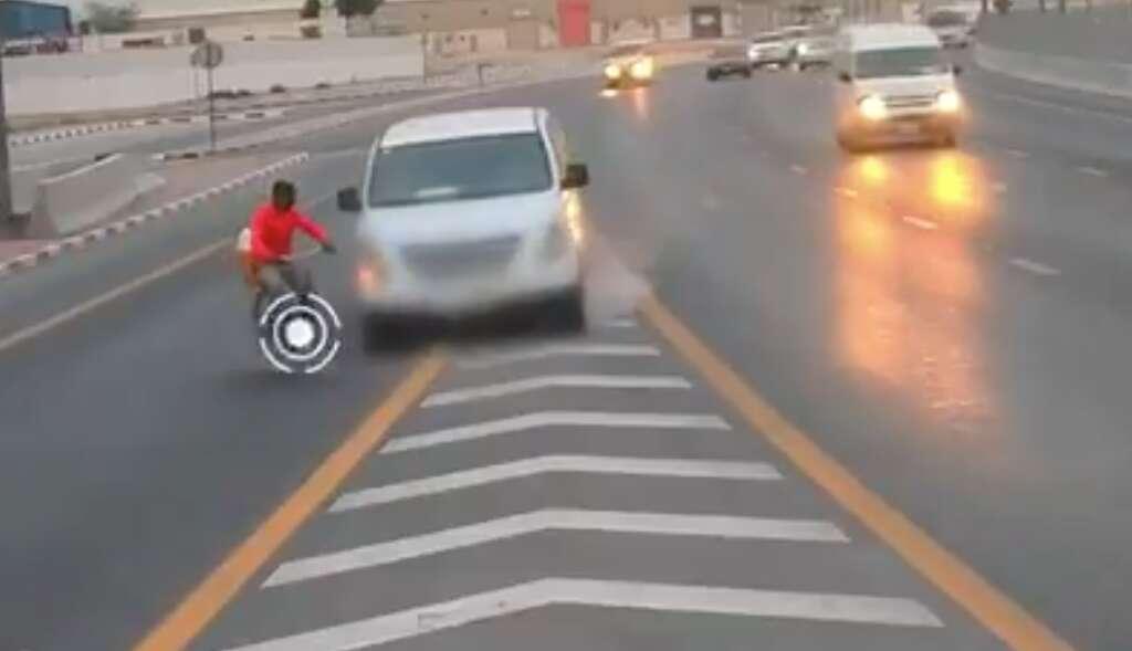 Caught on camera: Speeding car hits cyclist on UAE road