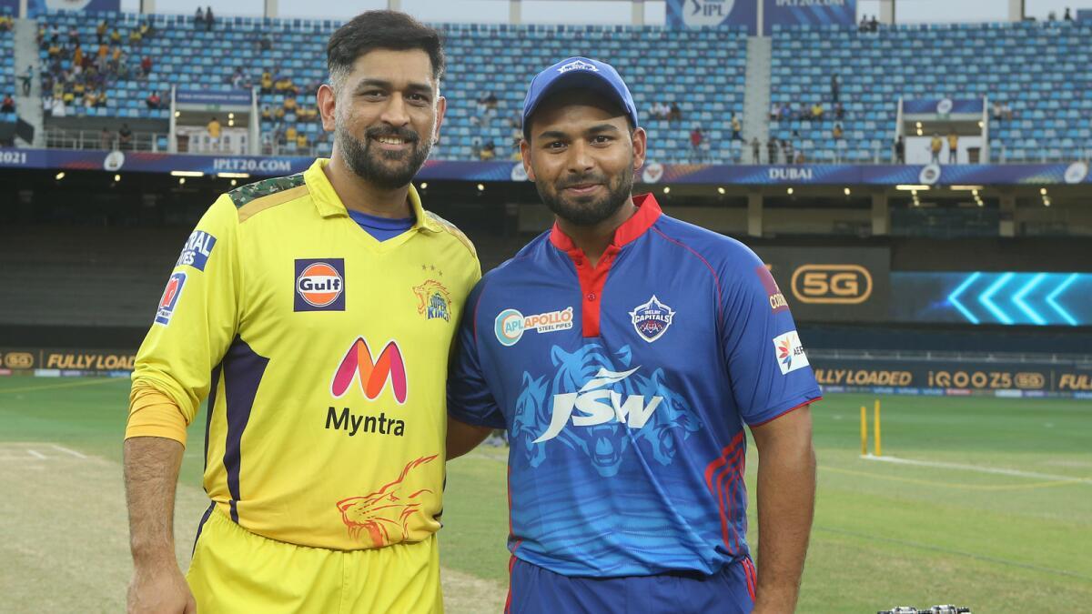 Delhi captain Rishabh Pant with Chennai skipper MS Dhoni. (BCCI)