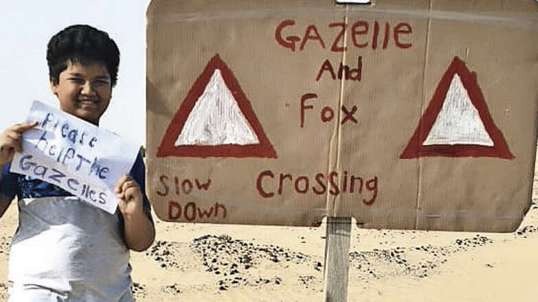 Family instals sign in Dubai to save gazelles from being run over