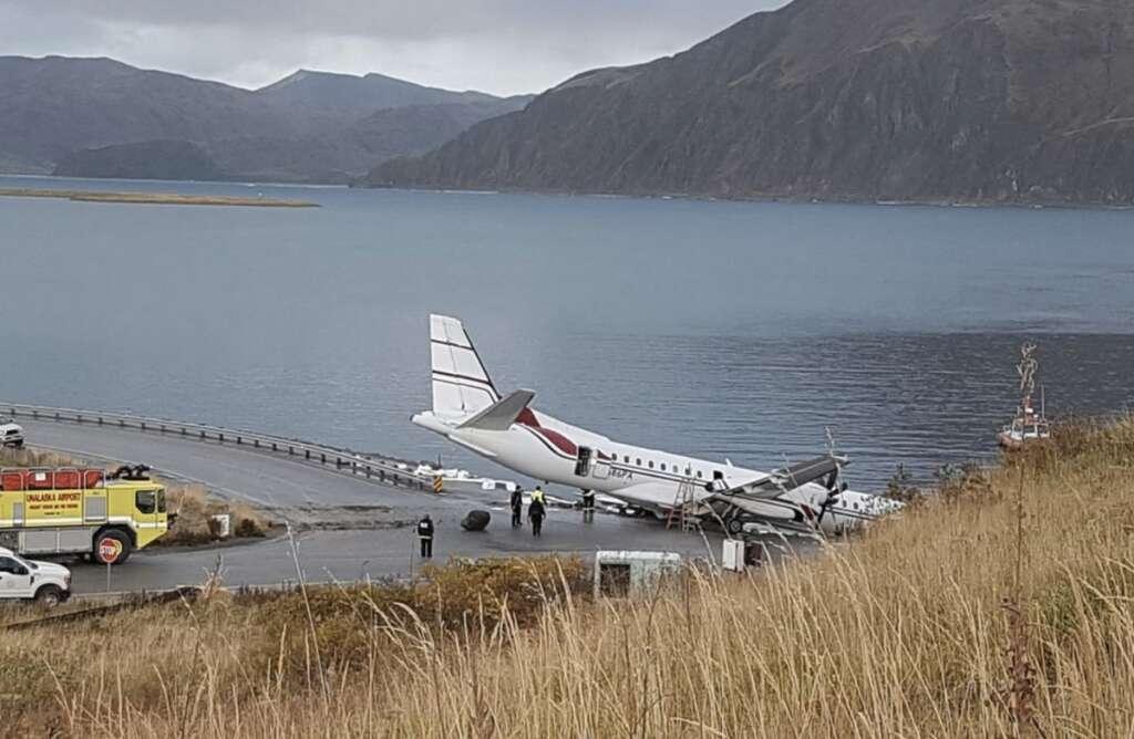 Plane, airport,Plane goes off runway, Alaska community