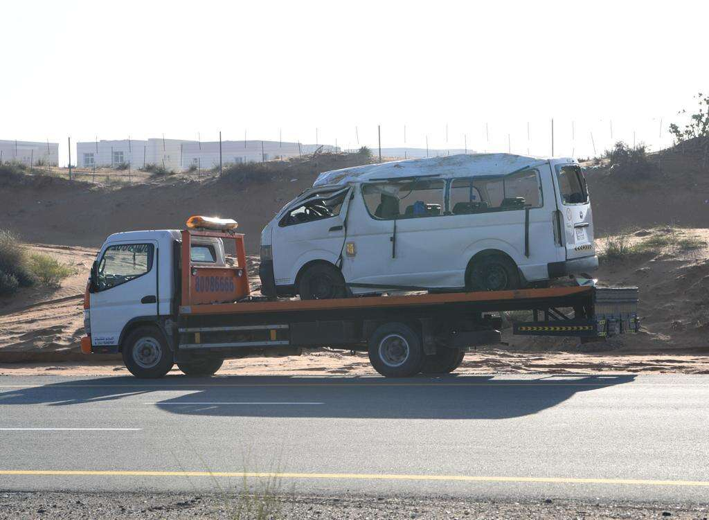 accident, ras al khaimah, road accident, sheikh mohammed bin zayed road, bus accident