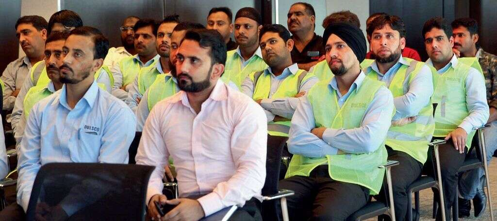 Truck drivers and supervisors attending the Road safety awareness seminar at Dubai Chamber.