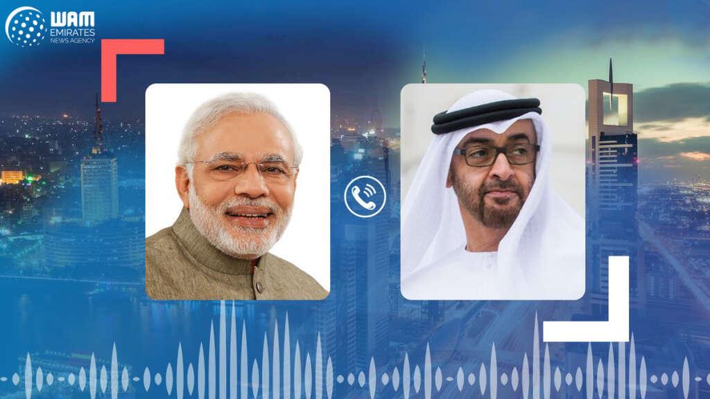 His Highness Sheikh Mohamed bin Zayed Al Nahyan, Narendra Modi, Indian, Prime Minister, telephone call, coronavirus, Covid-19