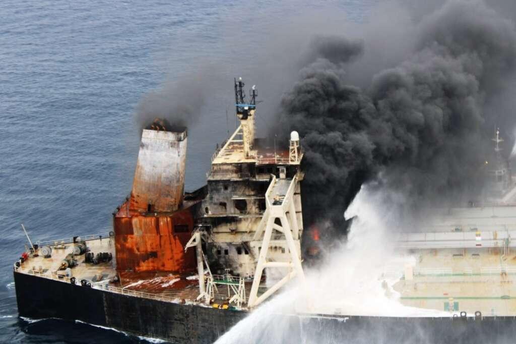 sri lanka, oil, tanker, blaze, reignited, new diamond