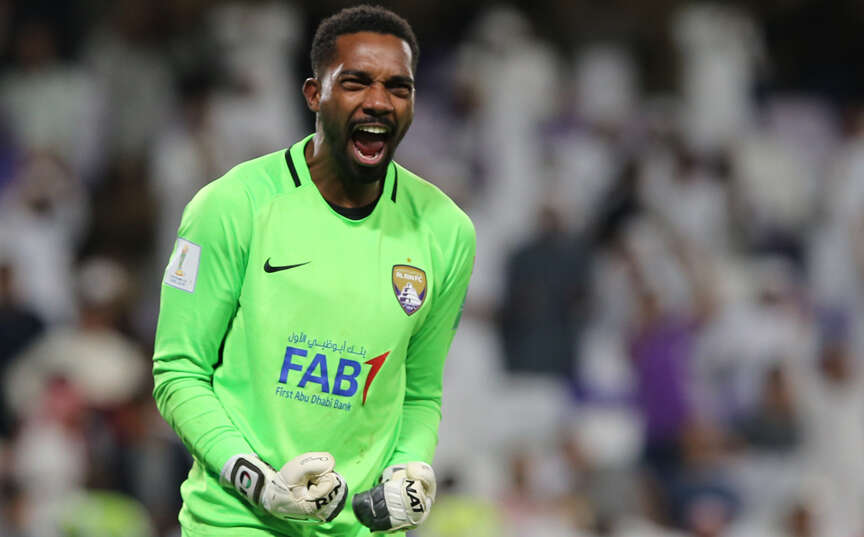 e033c26c46 Goalkeeper Khalid Eisa celebrates after his brilliant two saves in the penalty  shoot-out helped Al Ain beat Wellington in the Fifa Club World Cup match.