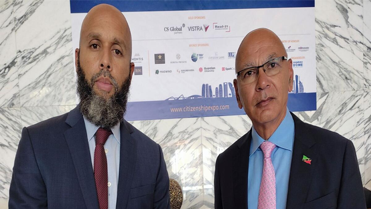Justin Hawley, the first Ambassador of St Kitts and Nevis to the UAE, and Les Khan, CEO, Citizenship by Investment Unit of St Kitts and Nevis, in Abu Dhabi. — Ashwani Kumar