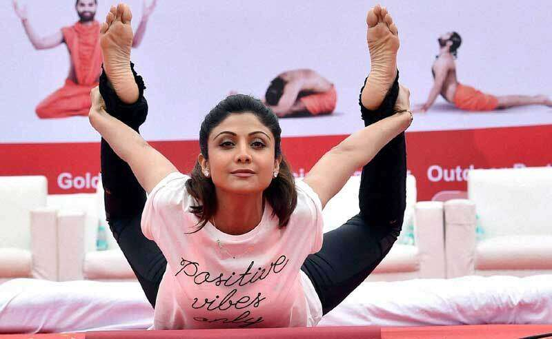 Bollywood Actress Shilpa Shetty Kundra Performs Yoga During A Mass Session To Celebrate The 1st International Day In Bangalore PTI File