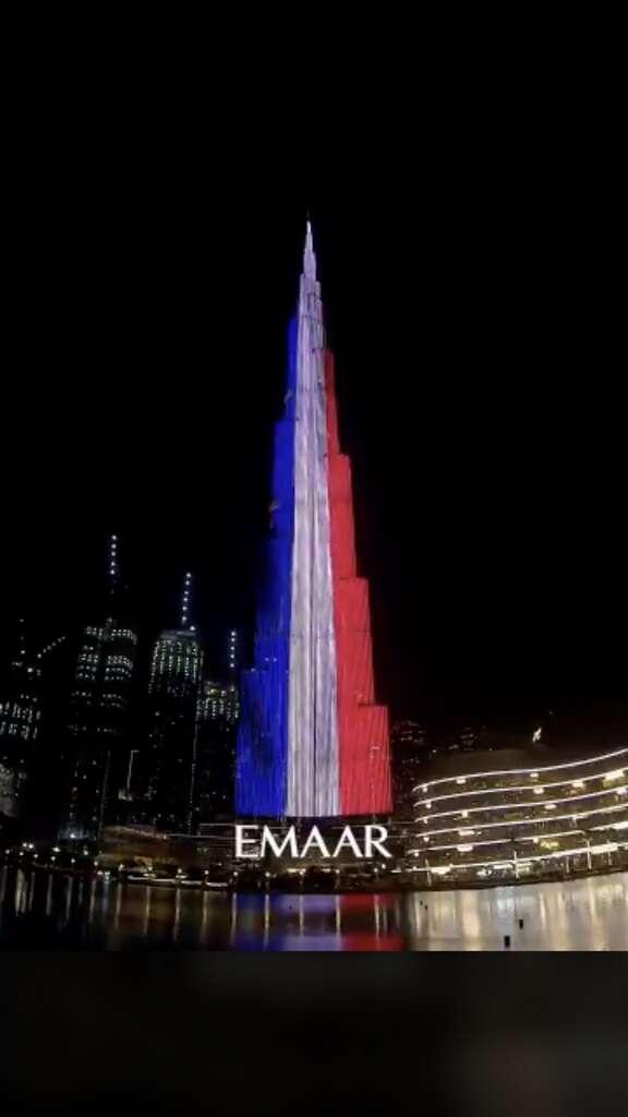 Dubai, Burj Khalifa, lit up, france, flag, mark, bastille day