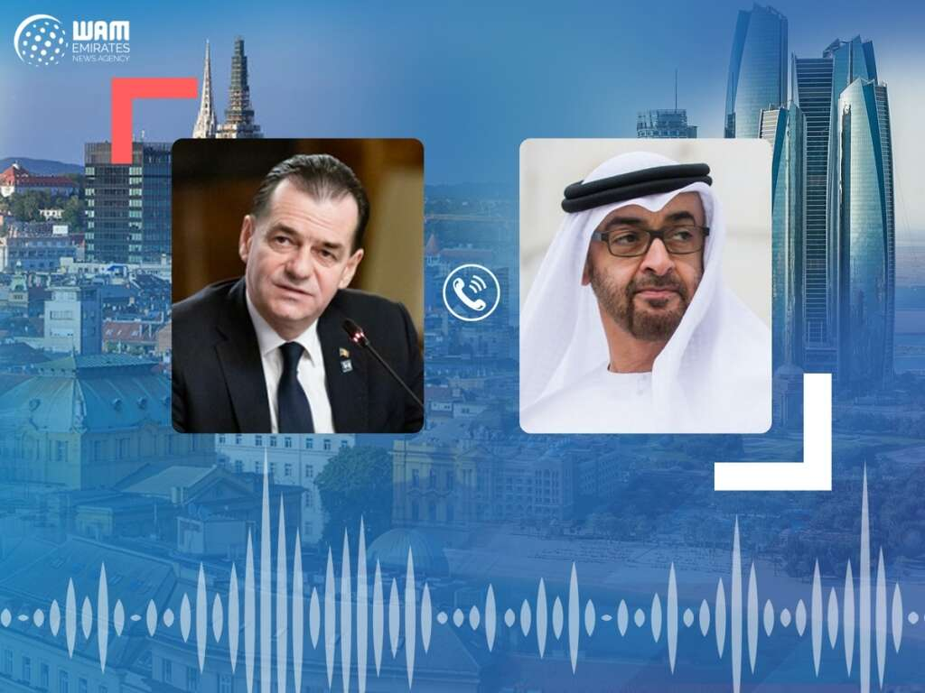 His Highness Sheikh Mohamed bin Zayed Al Nahyan, Abu Dhabi, Romanian Prime Minister, Ludovic Orban, telephone call, global issues, coronavirus, Covid-19
