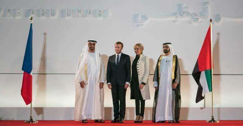 Sheikh Mohmed bin Zayed Al Nahyan, Emmanuel Macron, Brigitte Macron and Sheikh Mohammed bin Rashid Al Maktoum at the entrance of the Louvre Abu Dhabi.- Dubai Media Office/Twitter