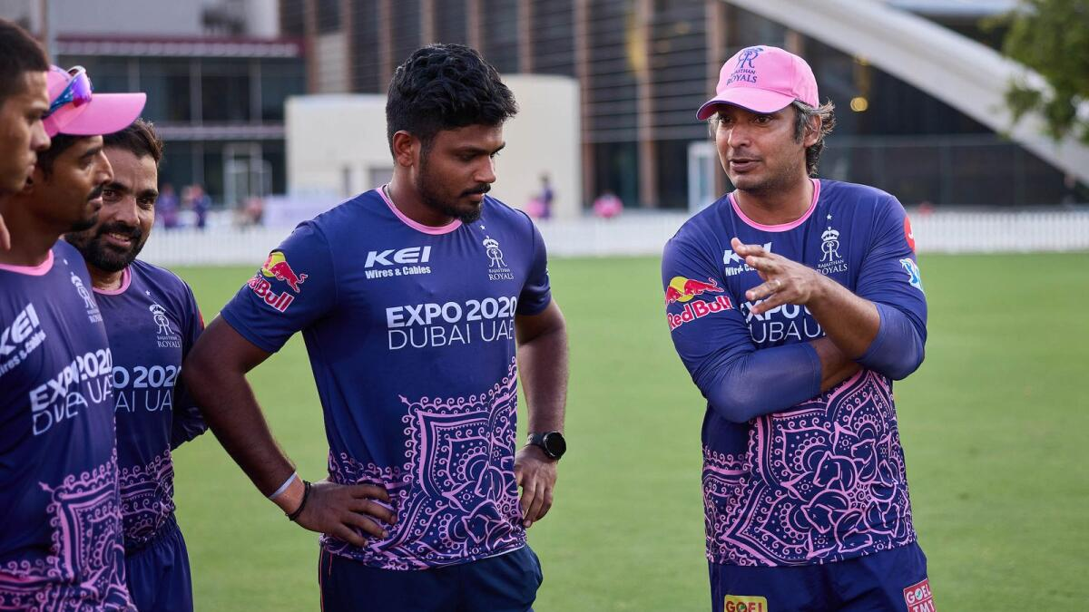 Kumar Sangakkara, Rajasthan Royals' Director of Cricket, with the players during a training session in Dubai. — Picture courtesy Rajasthan Royals