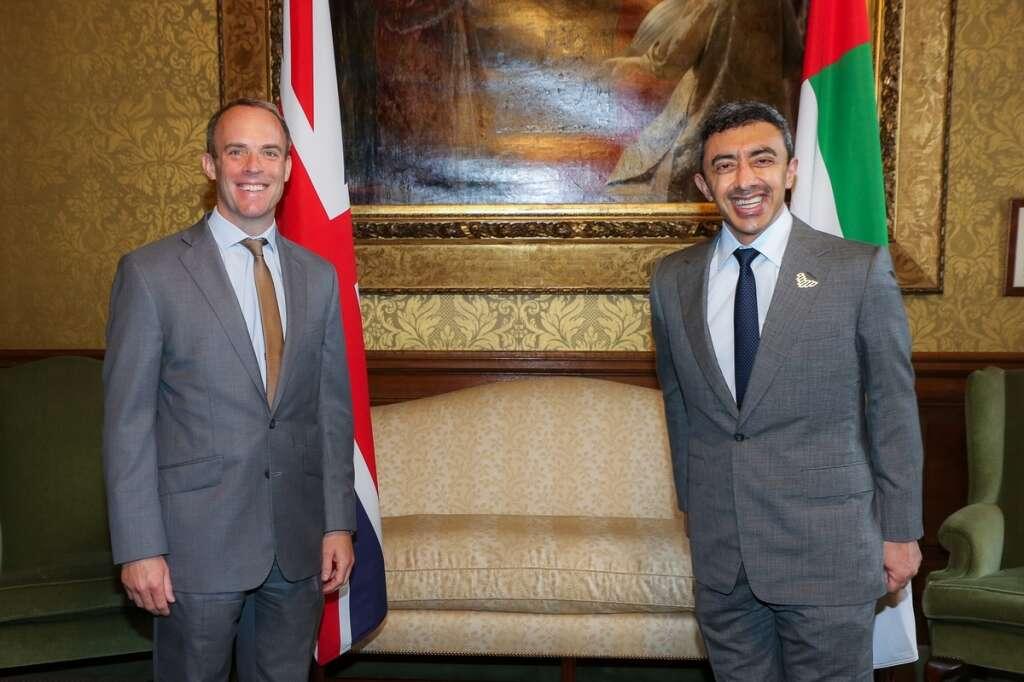 Sheikh Abdullah bin Zayed Al Nahyan, uae, meets, dominc raab, uk