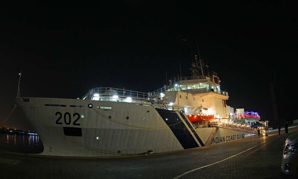Marine pollution control, Indian ship, joins, UAE Coast Guard, training,  Mina Rashid, Dubai