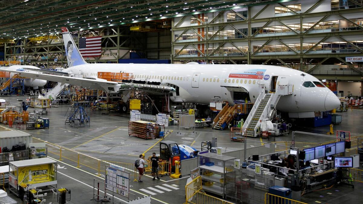 A Boeing 787 airplane is shown at Boeing Co.'s assembly facility, in Everett, Washington. — AP file photo
