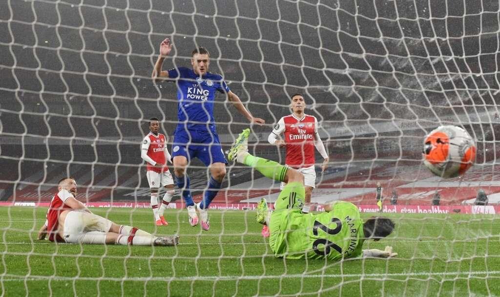 Leicester City, Jamie Vardy, late, equaliser, 1-1, draw, Arsenal, London., Emirates Stadium, Premier League