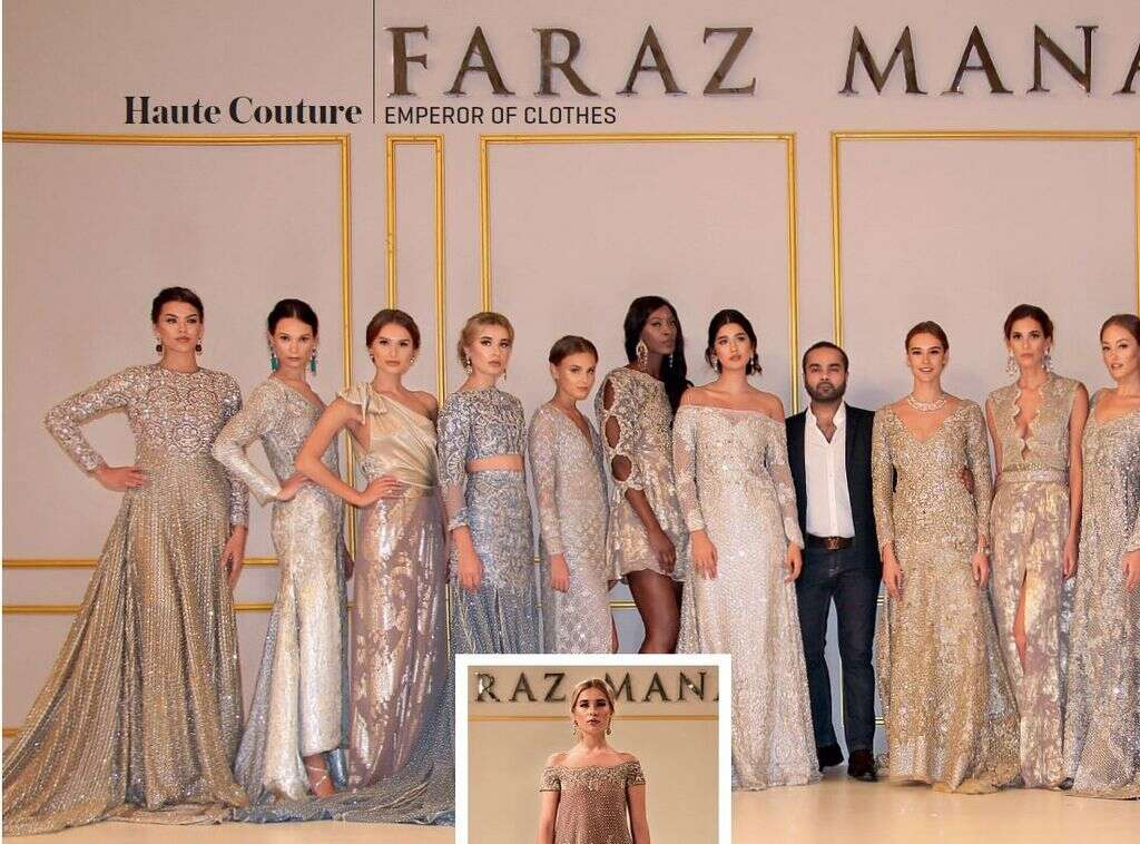 GLITTER N' GLAM: (this page) Models wearing Faraz Manan's new Imperial Collection at the launch event of his flagship boutique in Dubai