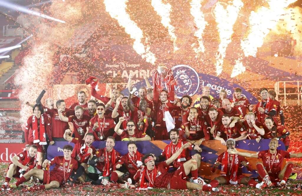 Liverpool, lift, Premier League, trophy, Anfield, empty, Kop, coronavirus, Covid-19, 5-3, win, Chelea