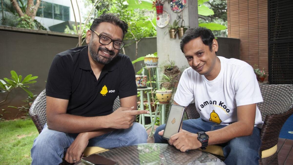 Aprameya Radhakrishna (left) with Mayank Bidawatka, co-founder, Koo. Supplied photo