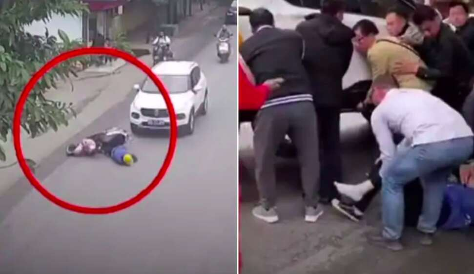 Passersby lift car to save woman after accident