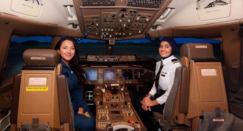 Watch: Afghan lady pilot test drives Emirates' Boeing 777 - Khaleej