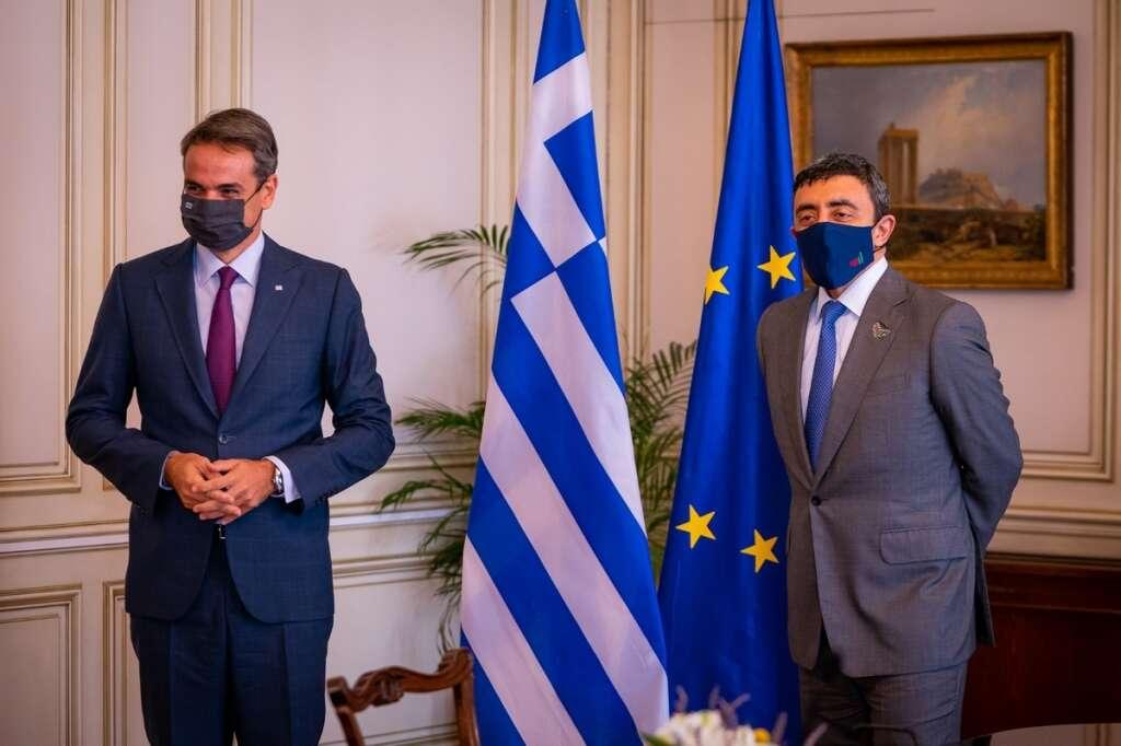 prime minister of greece, Kyriakos Mitsotakis, sheikh abdullah, uae,  Nikos Dendias