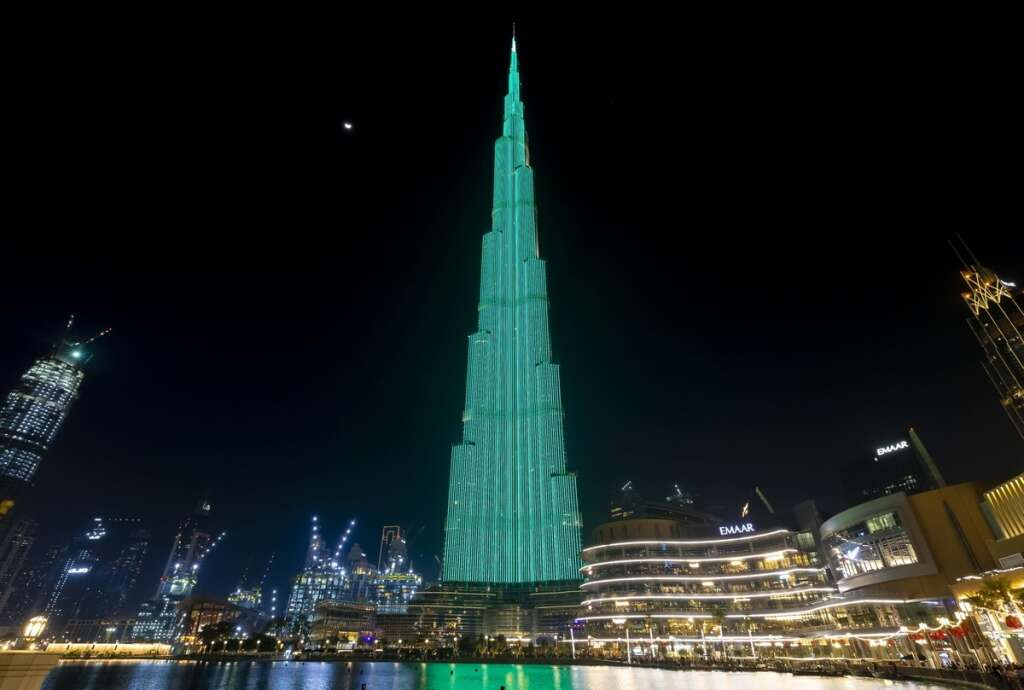 Dubai's Burj Khalifa goes green for Ireland's National Day