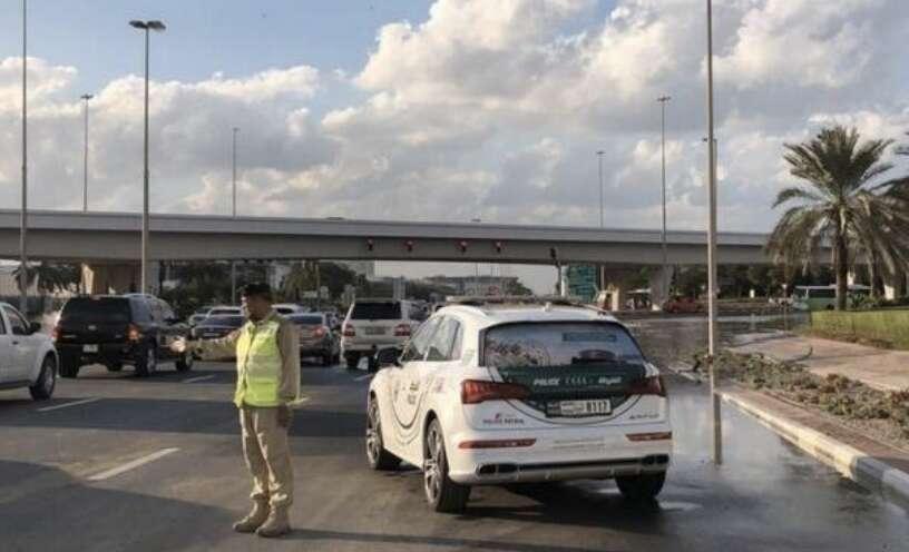 multi-vehicle accident, accident, Al Khail Road traffic
