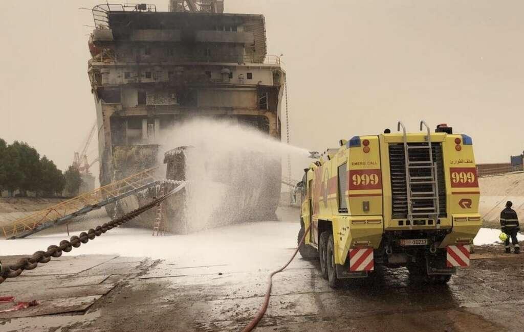 Fire breaks out in ships bow in UAE