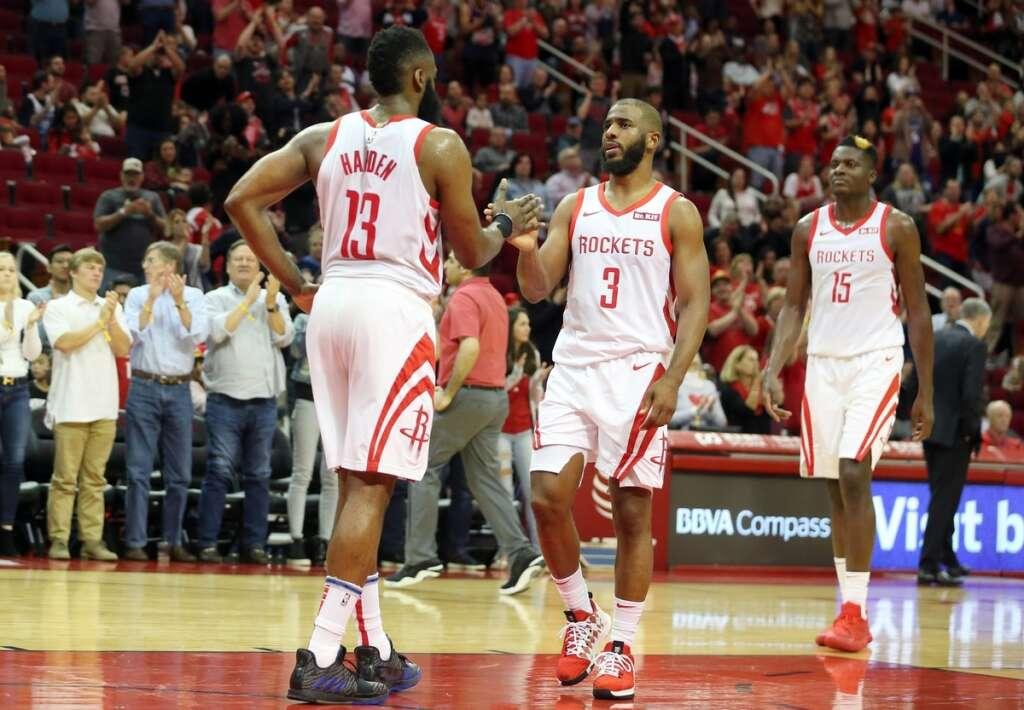 bd3de0215c54 Houston Rockets Chris Paul (3) and Clint Capela (15) congratulate James  Harden (13) after he scored his 2000 career point basket against the  Sacramento ...
