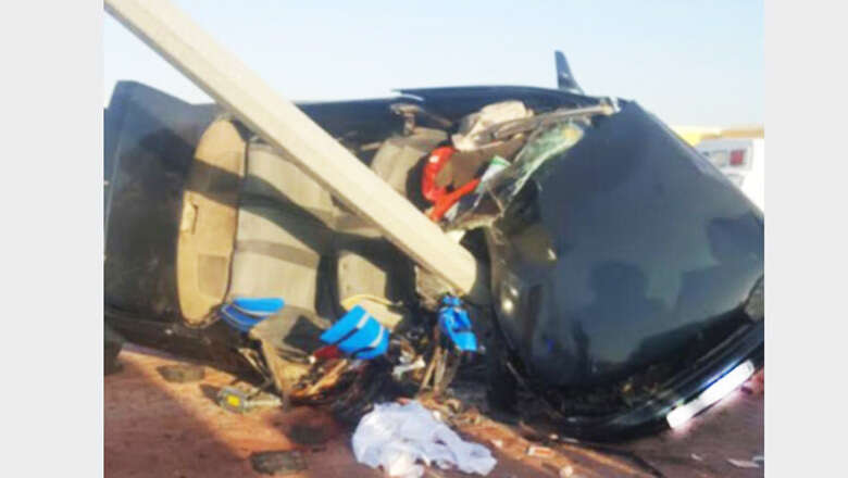 Two dead in horrific RAK car, lamppost crash