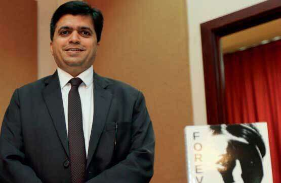 Rajiv Shah during the launch of his book Forever —  A Love Saga in Abu Dhabi.