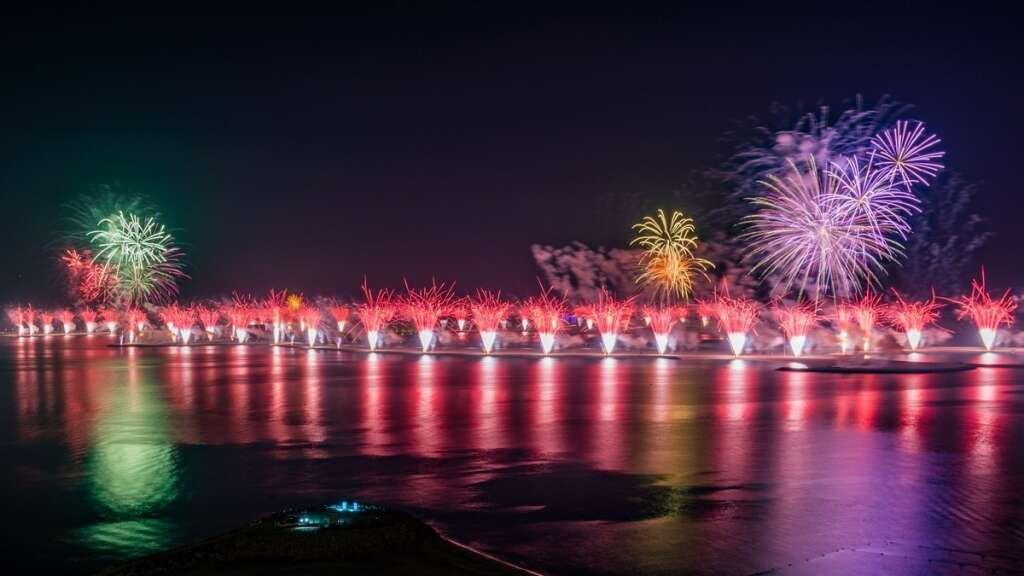 Ras Al Khaimah New Year's Eve fireworks' by Al Marjan Island sets Guinness World Records title for 'Largest Aerial Firework Shell'.- Supplied photo