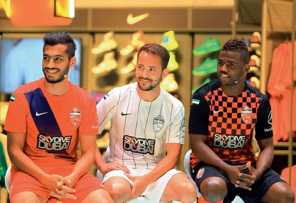 ... Everton Ribeiro and Ismail Al Hammadi at the unveiling of the team kit  for the forthcoming seasonat Sun and Sand Sports Store in Dubai Mall on  Sunday. f20de893d