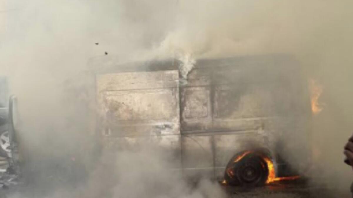 Dubai firefighters douse van caught on fire in DIFC