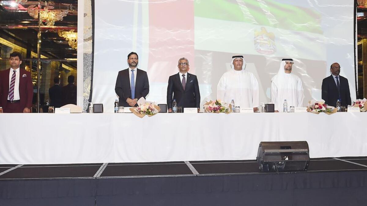 Sunder Nurani, chairman, ICAI (Dubai) Chapter, addressing The Banking Summit held in Dubai recently. — Supplied photo