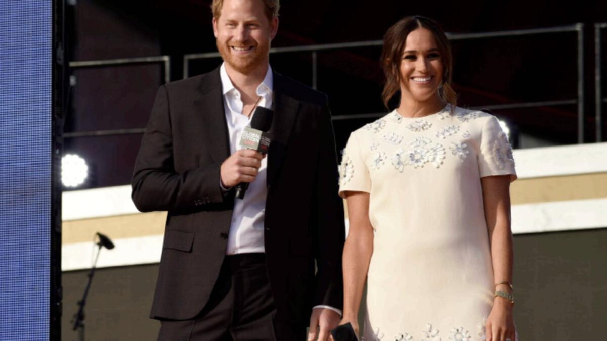 Prince Harry and Meghan speak at Global Citizen Live in Central Park. — AP