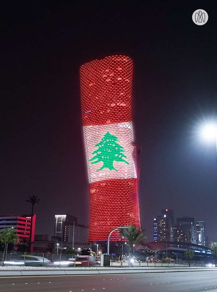 Abu Dhabi National Exhibitions Company, adnec, capital gate, tower, lights, up, Lebanese, flag, Beirut, blasts, gesture, solidarity