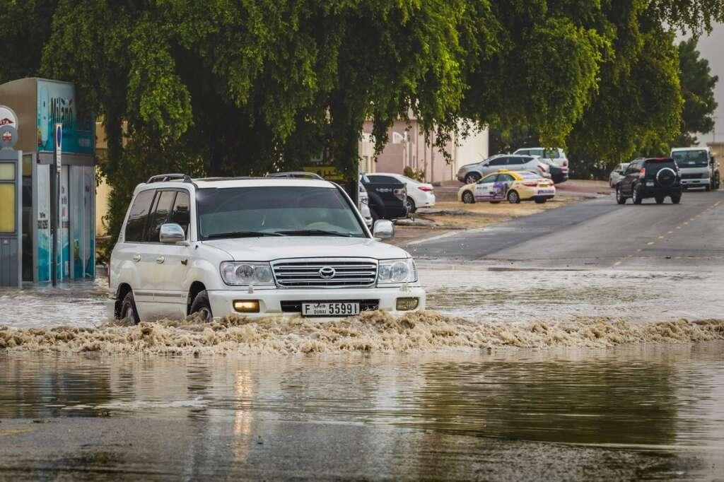 A waterlogged street in Al Qouz 1 after a downpour in Dubai.-Photo by Neeraj Murali/Khaleej Times