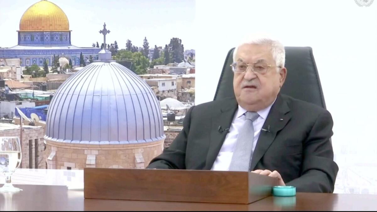 In this photo taken from video, Palestinian President Mahmoud Abbas remotely addresses the 76th session of the United Nations General Assembly in a pre-recorded message. — AP