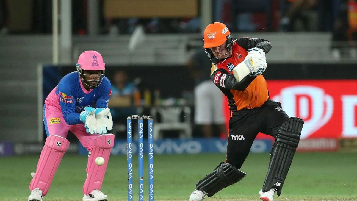 Sunrisers Hyderabad's Jason Roy plays a shot during the match against Rajasthan Royals. — BCCI